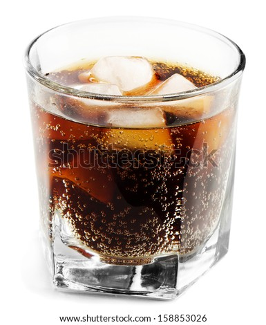 glass of cola isolated on white - stock photo