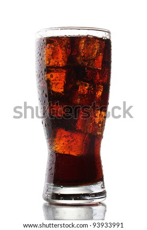 Glass of cola with ice isolated on white