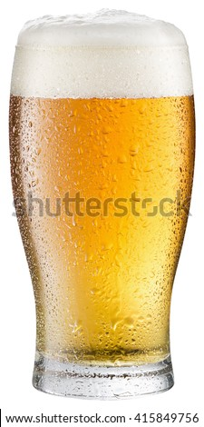 Glass of cold beer on a white background. Clipping path.