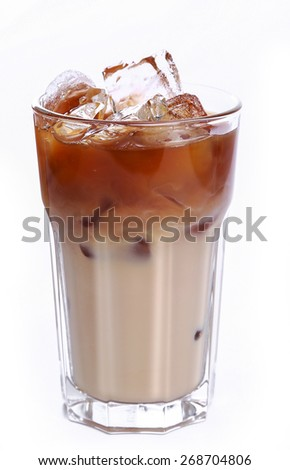 Glass of cold coffee on a white background - stock photo