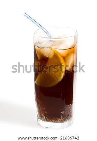 Glass of cold drink, clipping path included