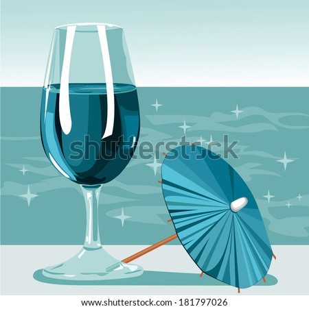 Glass of cold fresh water in hot day near ocean. Raster illustration with a glass of fresh blue water, decorative cocktail umbrella and shining ocean on background.  - stock photo