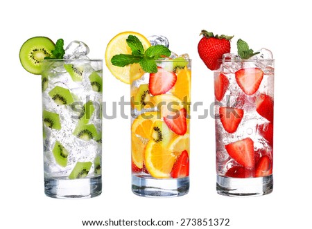 Glass Of Cold fruit Drinks collection  isolated on white background - stock photo