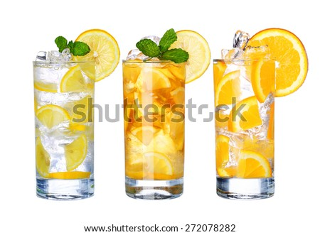 Glass Of Cold ice tea and lemonade Drink collection  isolated on white background - stock photo