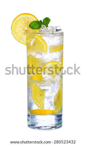 Glass Of Cold lemon cocktail with ice isolated on white background - stock photo