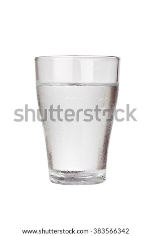 Glass of cold water isolated on white background - stock photo