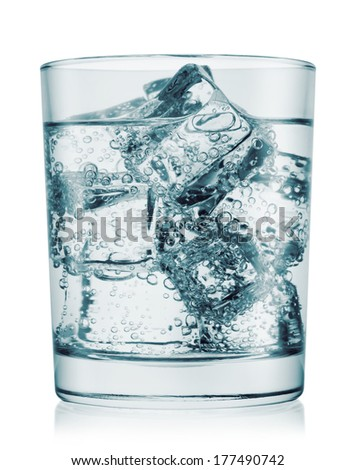 Glass of cold water with gas isolated on white background
