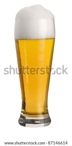 glass of cold wheat beer with froth and condensed water pearls, studio shot in white back, cut out with clipping path