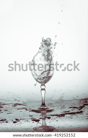 Glass of drink water with water drops splashing