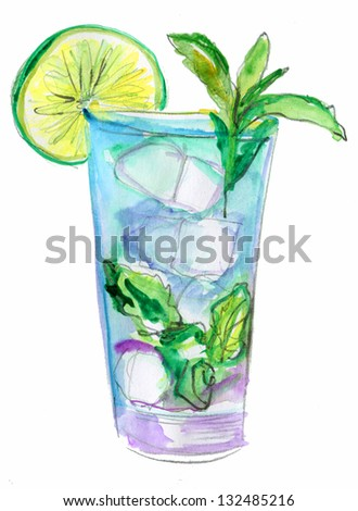 Glass of drink with Ice cube,  mint and lime, watercolor illustration - stock photo