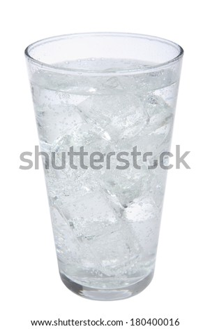 Glass of fizzy water on white background  - stock photo