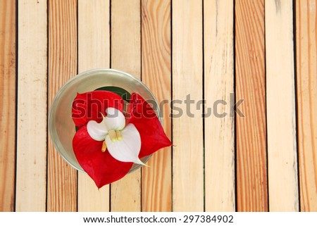 glass of flower on wooden panels - stock photo