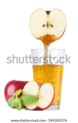 Glass of fresh apple juice with apple  - stock photo