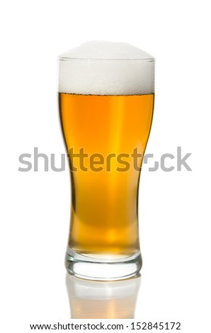 Glass of fresh beer - stock photo
