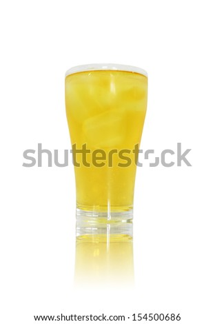Glass of fresh beer  isolated on white background - stock photo