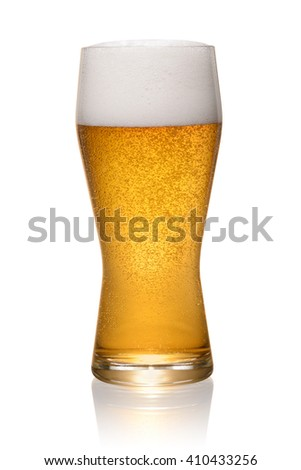 Glass of fresh beer isolated on white background with clipping path