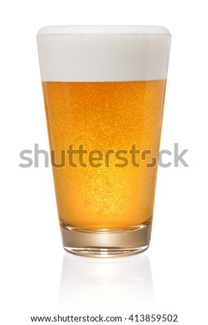 Glass of fresh beer isolated on white background with clipping path - stock photo
