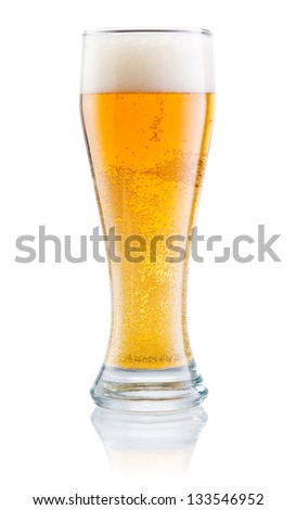 Glass of fresh beer with foam isolated on a white background - stock photo