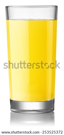 glass of fresh fruit juice isolated on white with clipping paths - stock photo