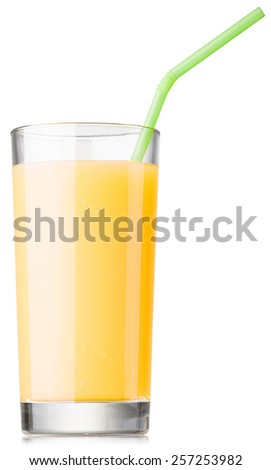 glass of fresh fruit juice isolated on white with clipping paths