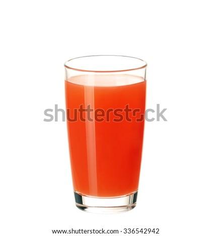 Glass of fresh grapefruit juice isolated on white background - stock photo