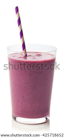 Glass of fresh healthy blackberry smoothie isolated on white background - stock photo