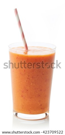 Glass of fresh healthy fruit and berry smoothie isolated on white background - stock photo