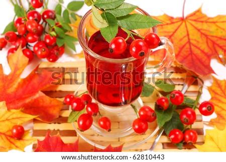 glass of fresh herbal rose hip tea - stock photo