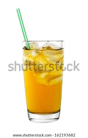 Glass of fresh juice with ice and straws isolated on white background - stock photo