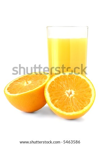 glass of fresh orange juice set against white with two halves of orange - stock photo