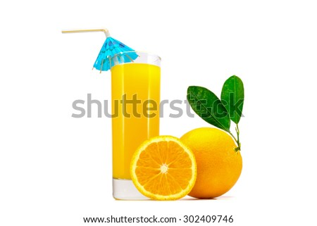 glass of fresh orange juice with a straw whole oranges with leaves and sliced orange isolated on white background - stock photo