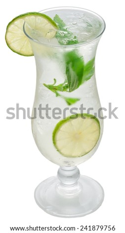 Glass of frozen lemonade with mint isolated on white background - stock photo