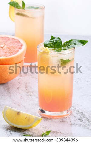 glass of grapefruit drinks with lemon, ice cubes and fresh sweet basil