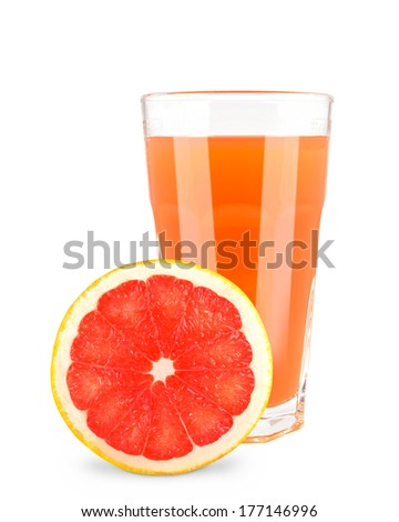glass of grapefruit juice on a white background