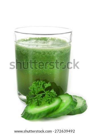 Glass of healthy fresh juice, isolated on white