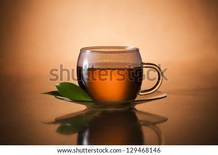 Glass of hot tea close up shoot - stock photo
