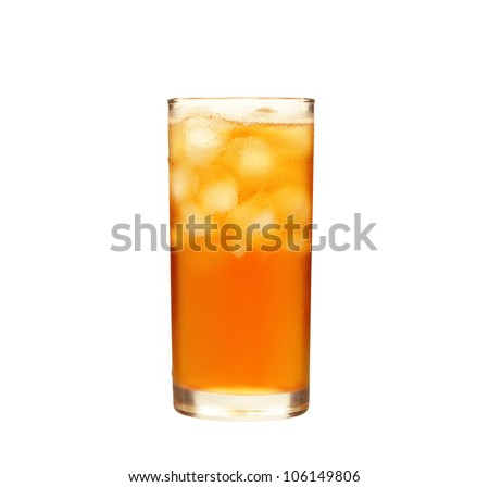 Glass of ice tea isolated on  white - stock photo