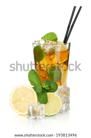 Glass of ice tea with lemon, lime and mint. Isolated on white background - stock photo