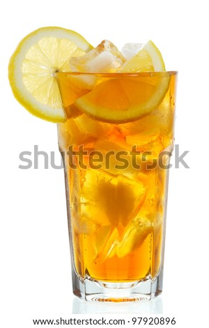 glass of ice tea with lemon on white background - stock photo
