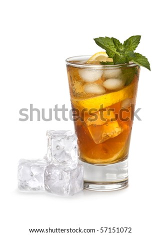 Glass of iced tea - stock photo