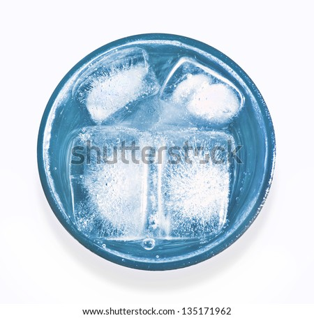 glass of icy water - stock photo