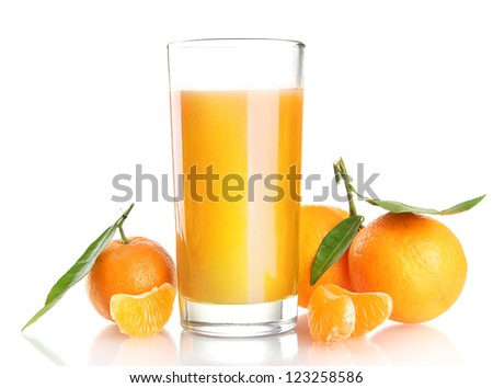 glass of juise and ripe sweet tangerine with leaf, isolated on white - stock photo