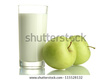 Glass of kefir and green apples, isolated on white - stock photo