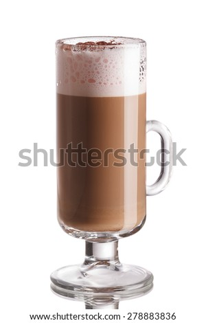 Glass of layered coffee cocktail