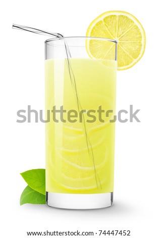Glass of lemonade isolated on white - stock photo