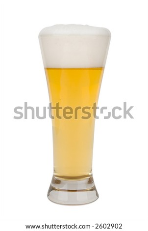 Glass of light beer with froth with clipping path