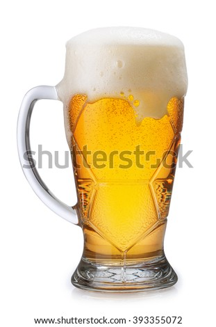 Glass of light beer with overflowing foam isolated on white background - stock photo