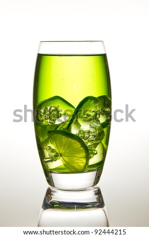Glass of lime with ice - stock photo