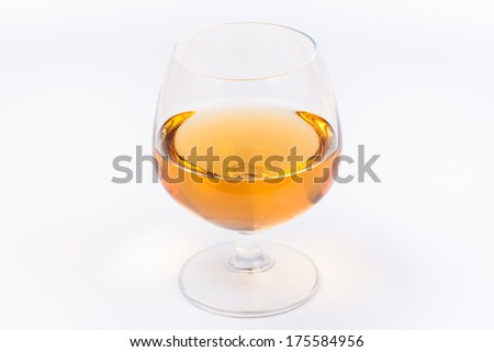 Glass of mead, brandy, whiskey - stock photo