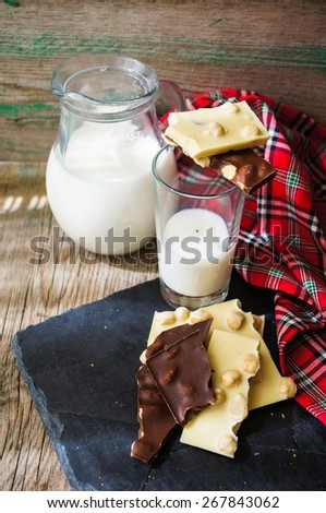 Glass of milk and bars of two types of chocolate - stock photo